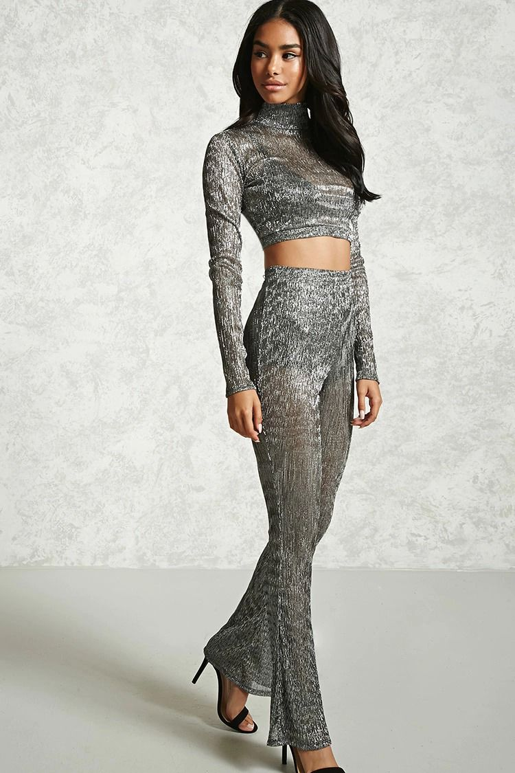 dd8a83f898f4 Forever 21 - A pair of semi-sheer metallic knit pants featuring a solid  shorts underlay