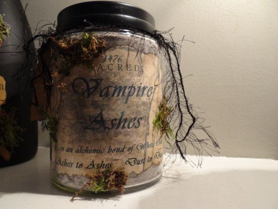 Vampire Ashes Apothecary Jar Large 26 oz by MYSTICALLYENCHANTING