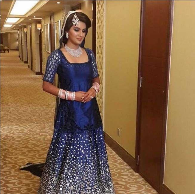 geeta basra at her wedding reception in delhi. #bollywood #fashion