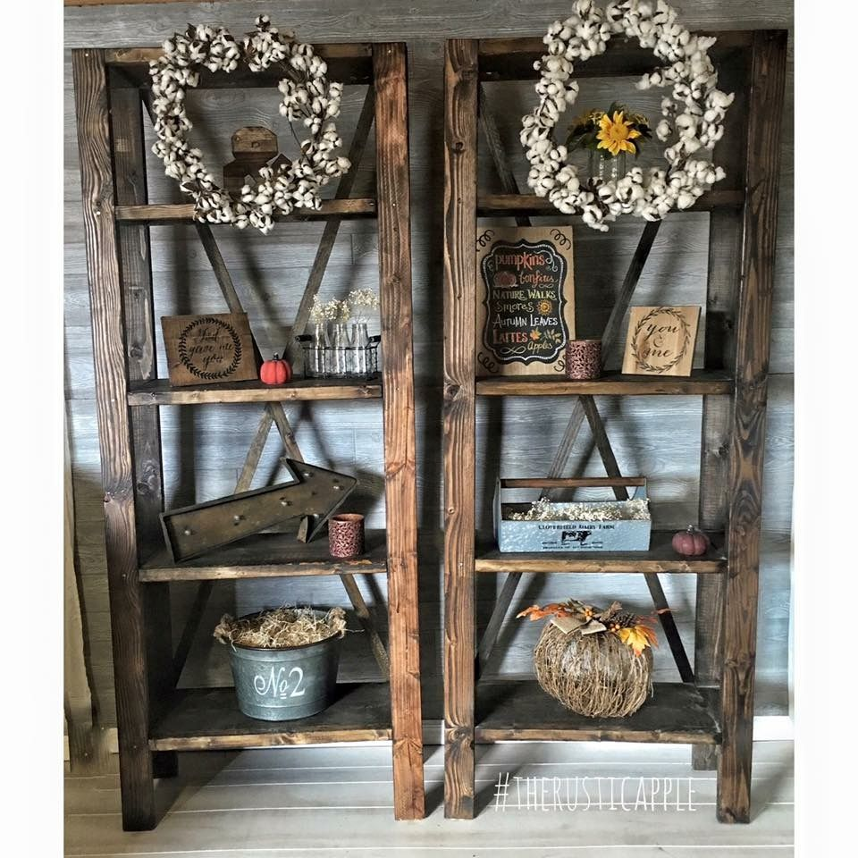 Custom Built Rustic X Bookshelves Farmhouse Shelving Rustic Shelves Customfurniture Rusticfurniture Farmhouse Shelves Diy Bookshelves Diy Bookshelf Decor