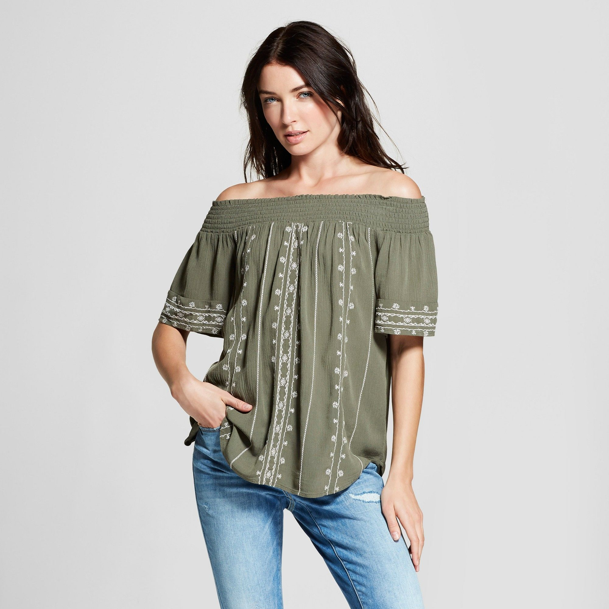 2bb9e4069fedde Women s Short Sleeve Embroidered Off the Shoulder Top - Knox Rose Olive  Xxl