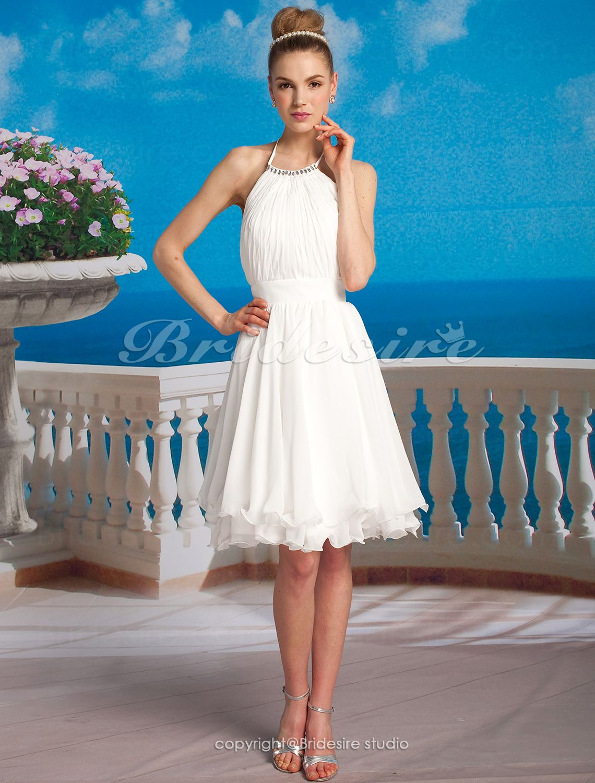 The Green Guide A Line Chiffon Knee Length Halter Wedding Dress 251154