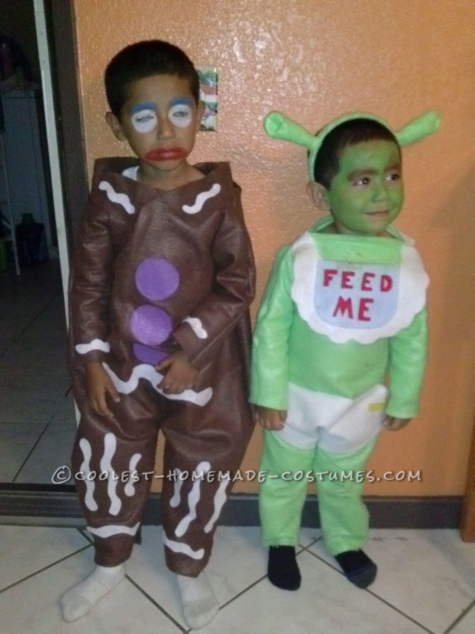 Gingy Cookie and Shrek Costumes | Shrek costume, Halloween costume ...