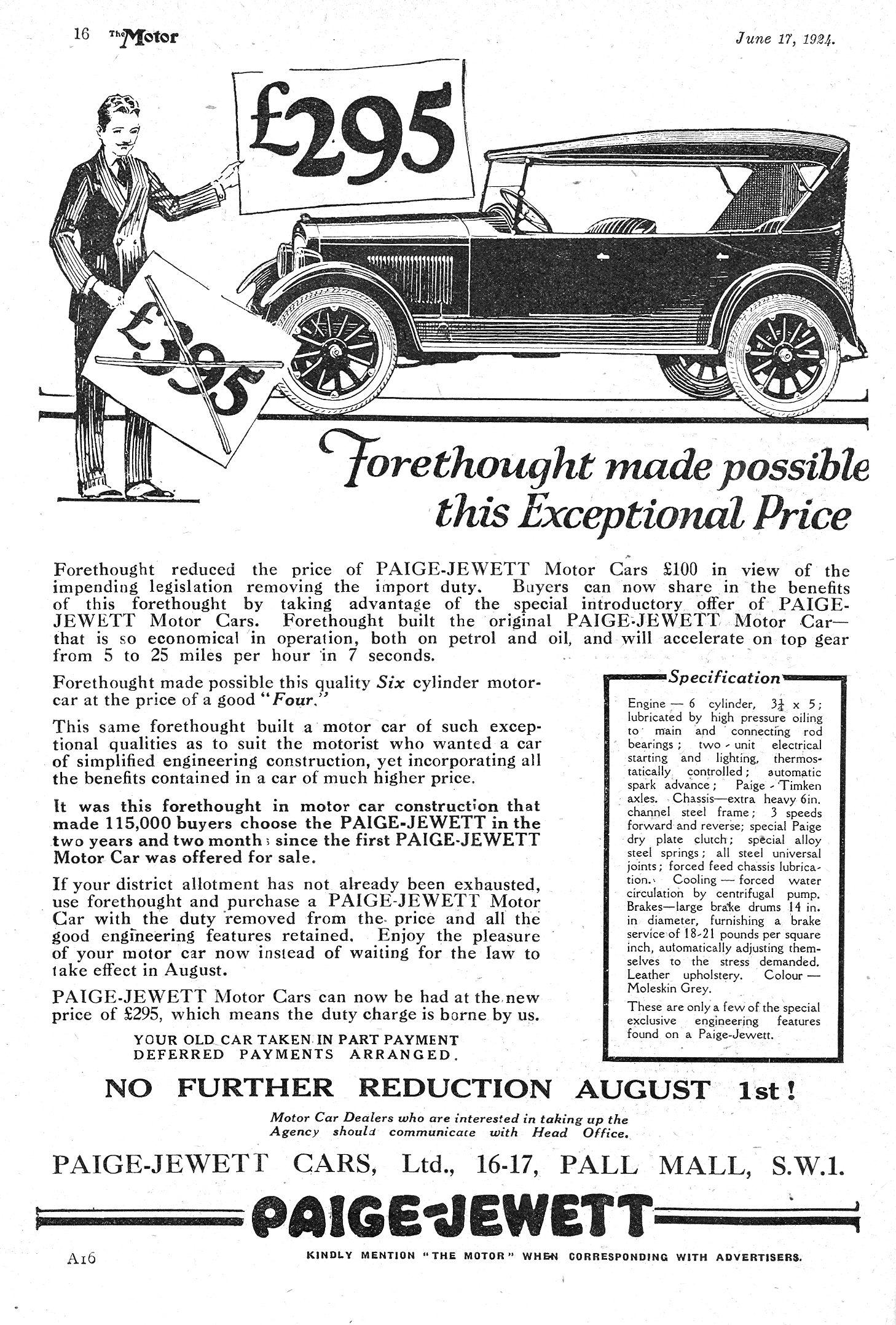 Paige Jewett Motor Car Autocar Advert 1924
