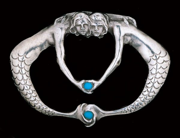 This is not contemporary - image from a gallery of vintage and/or antique objects. THEODOR VON GOSEN 1873-1943 Vereinigte Werkstaetten, Mermaid brooch Silver Turquoise