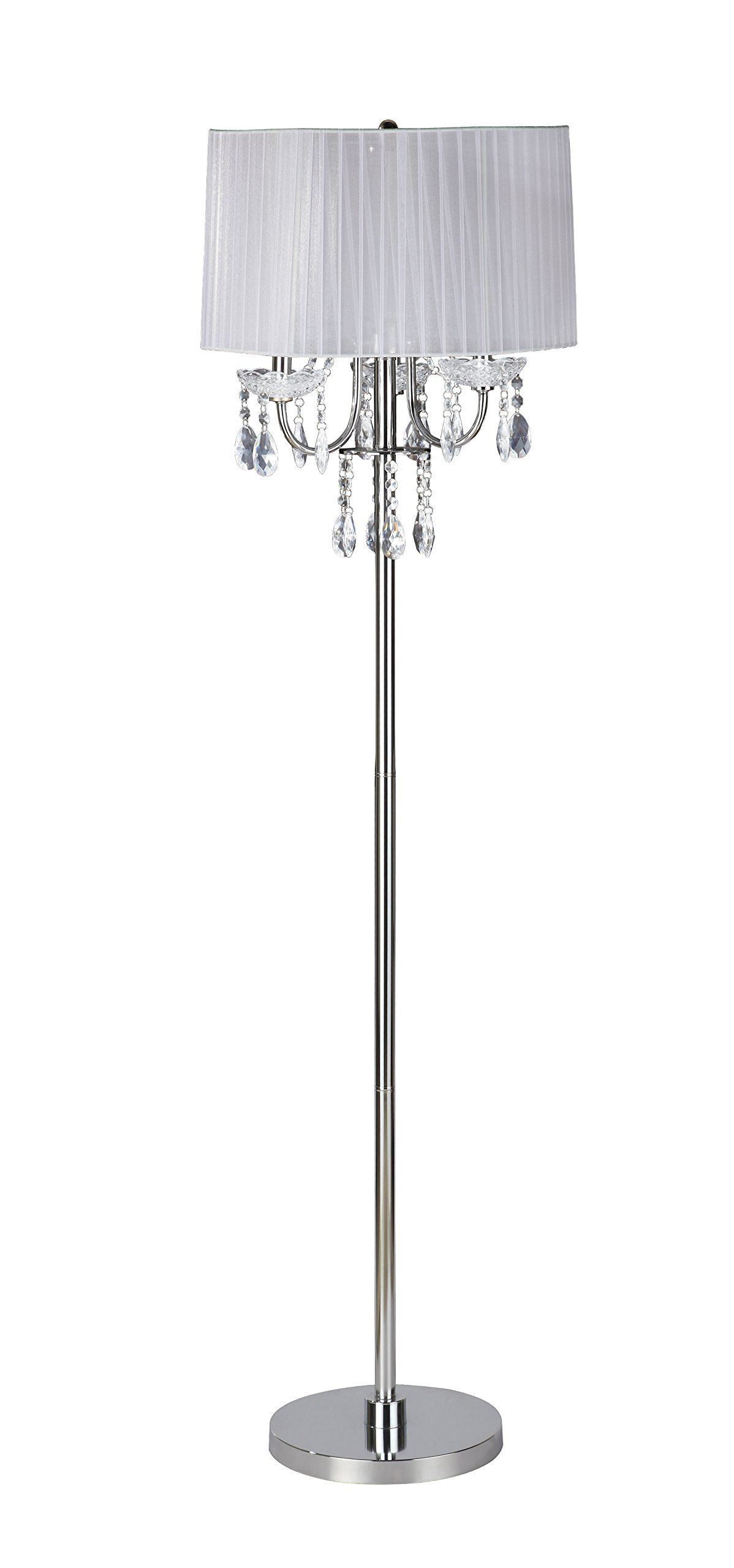 Wh wholesale vintage lead crystal table lamp buy cheap - Sh Lighting 6733f Wh Crystal Inspired 3 Bulb Floor Lamp 62 5 H
