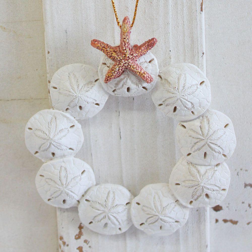 Resin Sand Dollar Wreath Ornament | Matrimonio, Ornamento di ...