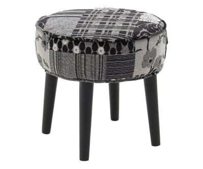Sgabello in legno di betulla e poliestere patchwork grigio e nero