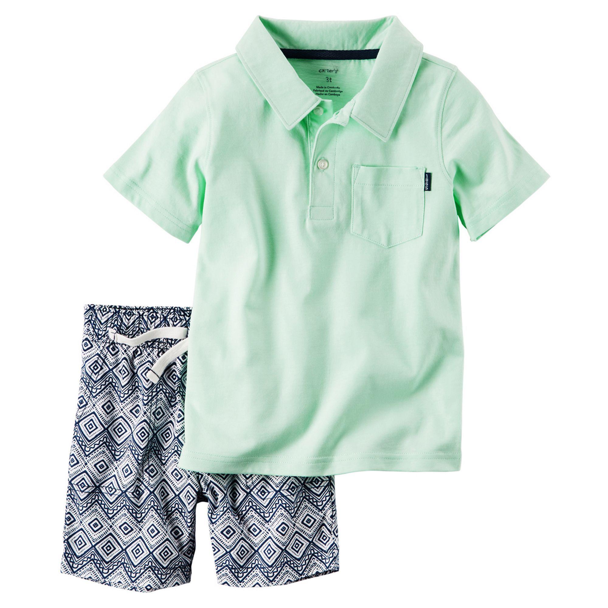 3a8b96d0 Toddler Boy Carter's Mint Polo Shirt & Geo-Print Canvas Shorts Set, Size:  2T, Lt Green