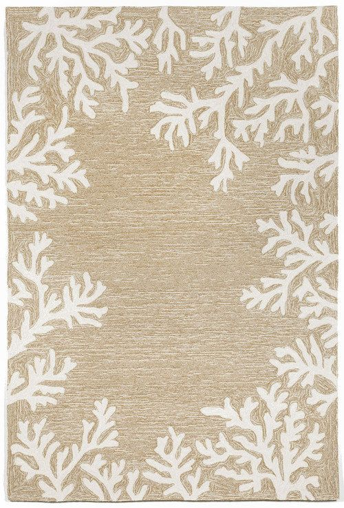 Off White Branch C Designs Make Up The Border Of This Bordered Beige Beach House Indoor Or Outdoor Area Rug An Elegant Driftwood Sea Washed Look