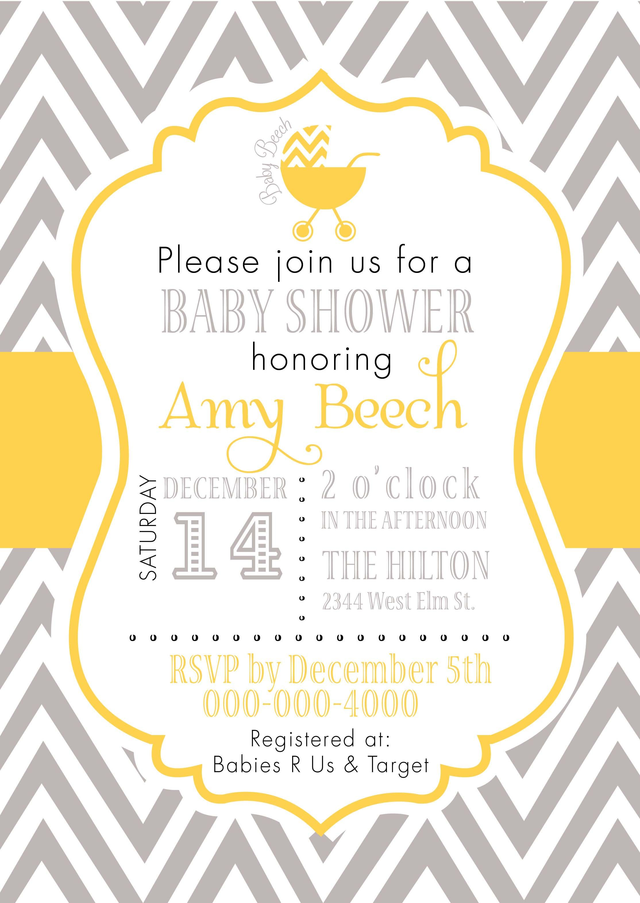 grey and yellow baby shower invitations - google search, Baby shower invitations