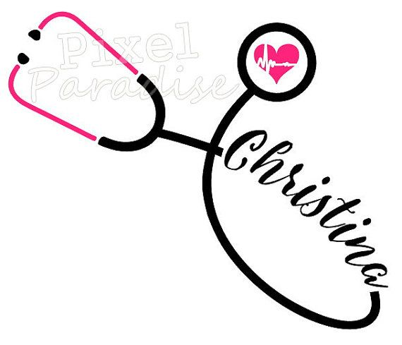 Heart Stethoscope with Personalized Name Vinyl Decal Sticker Doctor Nurse EMT