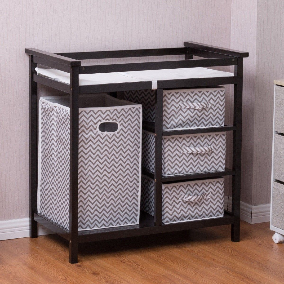 Black baby diaper storage changing table w baskets furniture