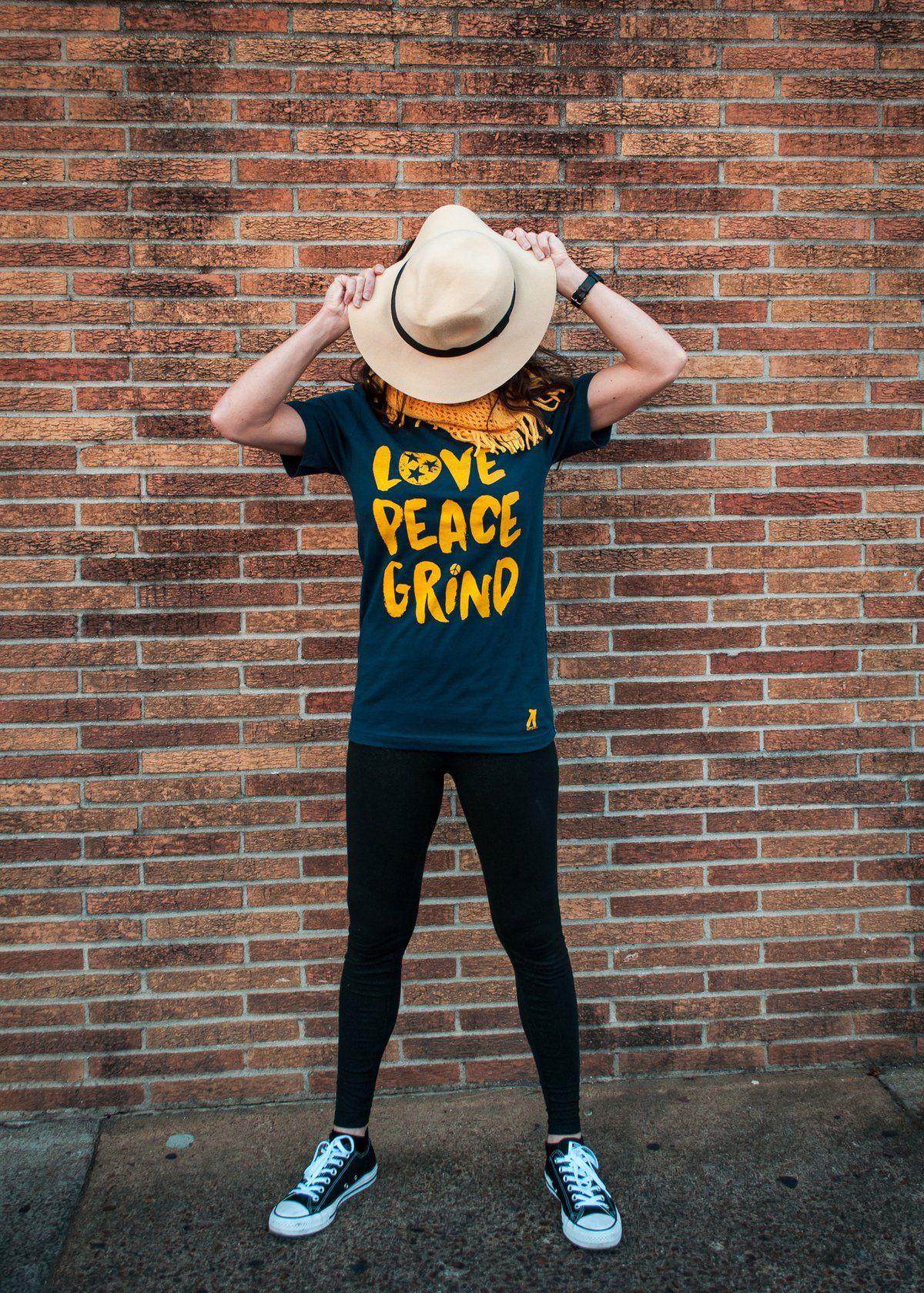 """""""Love, Peace, Grind"""" Hippie Pants T-Shirt"""