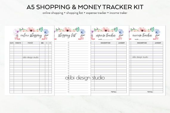 Expense Tracker, Income Tracker, Shopping List, Online Shopping, A5