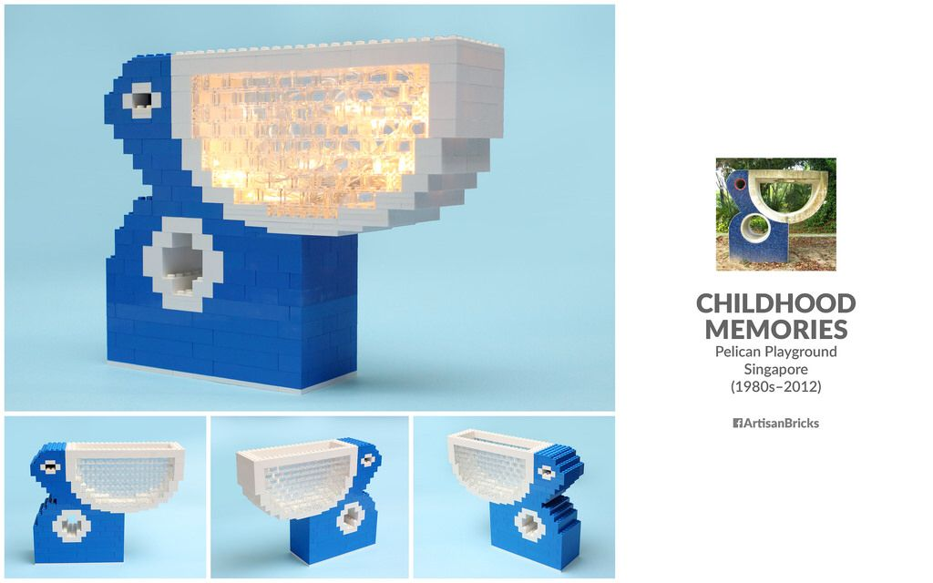 Artisan Bricks by Jeffrey Kong - LEGO Retro HDB Pelican Playground Singapore - with Lights