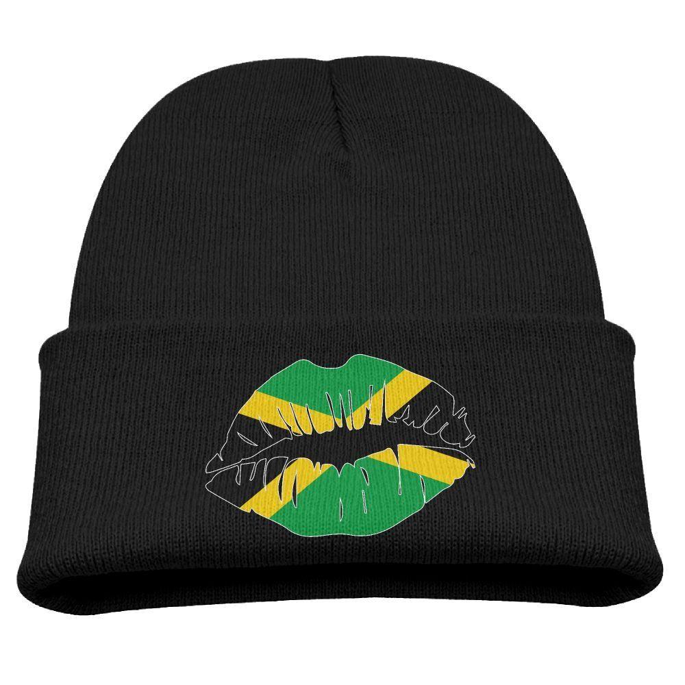 b2c0a2dc4f52a Jamaica Flag Lips Unisex Kids Warm Winter Hat Knit Beanie Skull Cap Cuff  Beanie Hat Winter