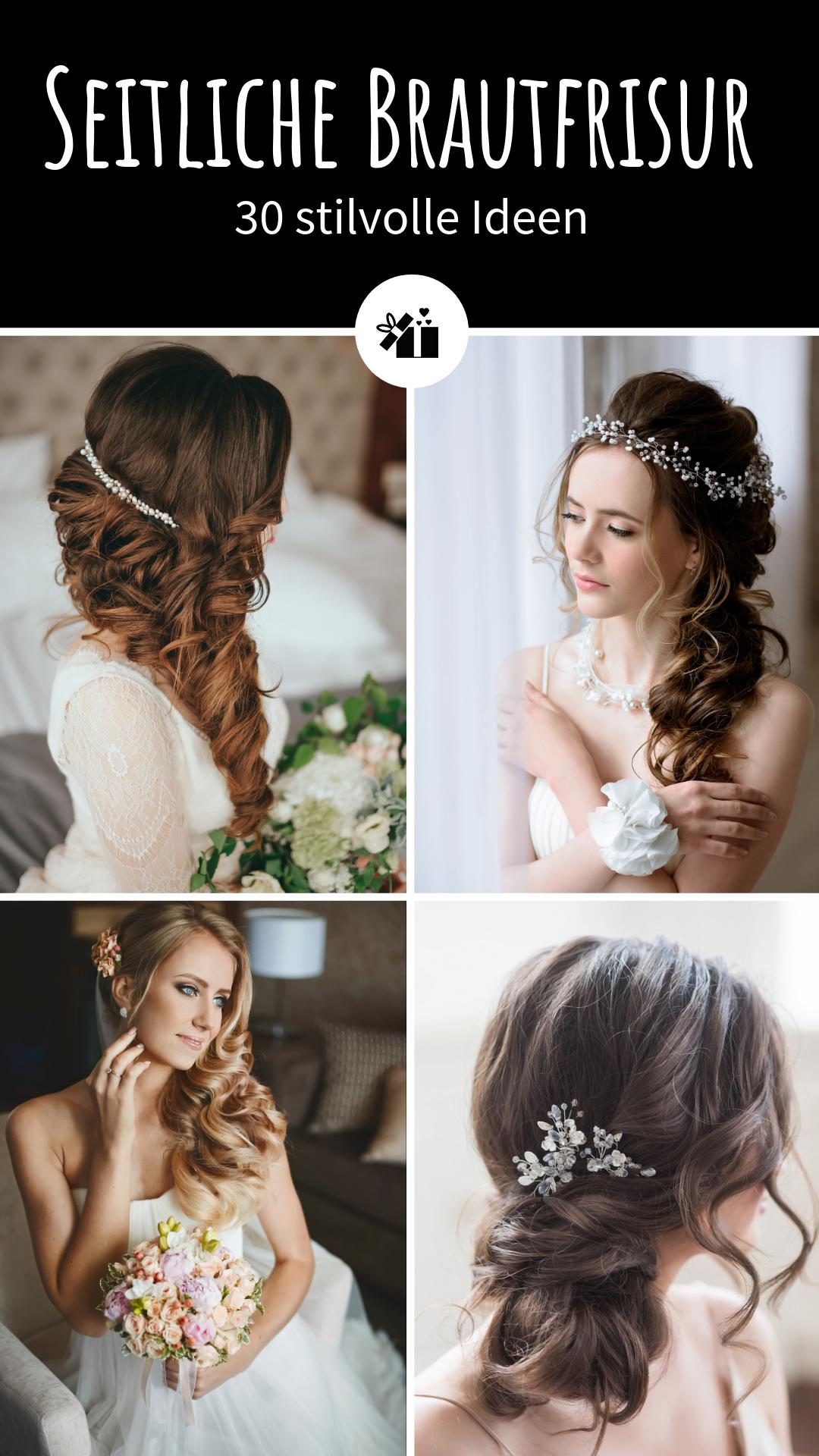 Brautfrisur Seitlich Tragen 30 Stilvolle Ideen Hochzeitskiste Brautfrisur Frisur Braut Hochzeitsfrisuren