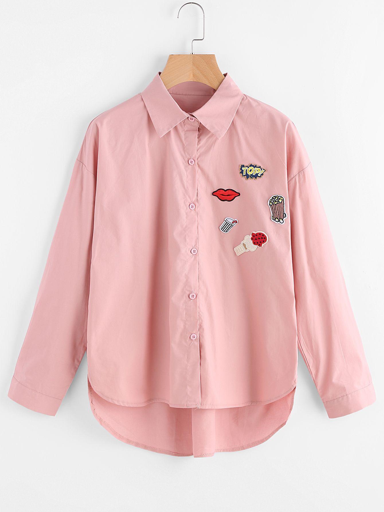 Blusa con parche con una fila de botones-Spanish SheIn(Sheinside)