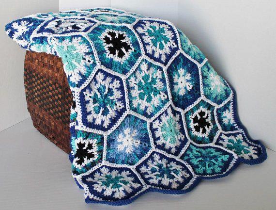 Afghan- Handmade Snowflake Hexagon Crochet Blanket - Full Size ...