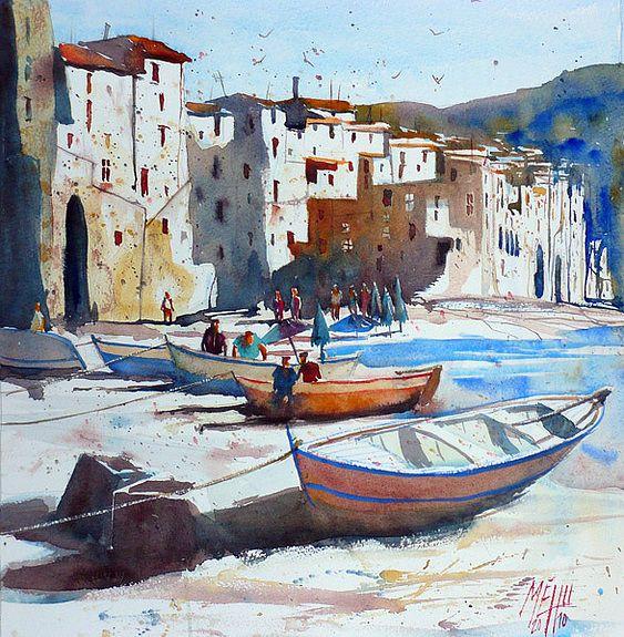 Sur La Plage De Cefalu Comment Peindre Les Arts Peinture Croquis