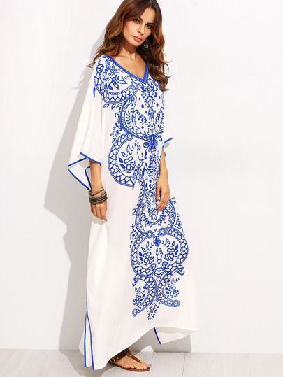 26413ab8e5 Blue Print in White V Neck Batwing Sleeve Maxi Dress -SheIn(Sheinside)
