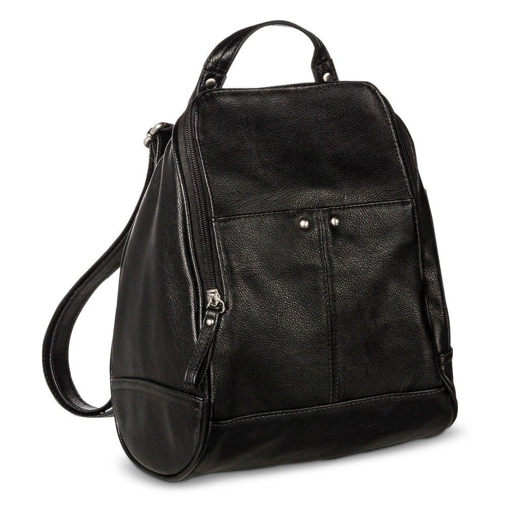 2a5589278e7e Women s Backpack Faux Leather Handbag with Zip Closure Black - Merona