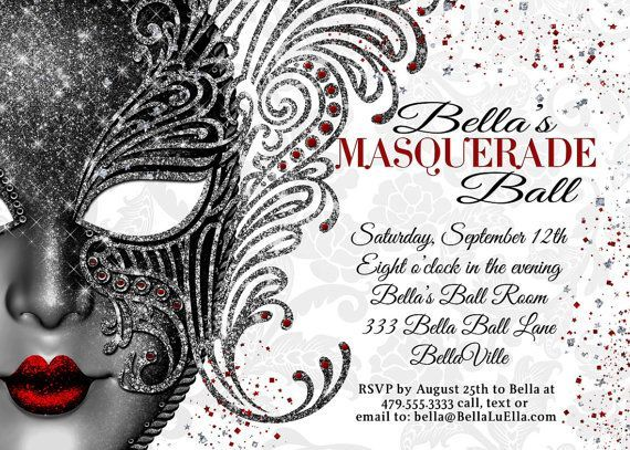 masquerade party invitations - Google Search Cafe concept Inspired - sweet 16 halloween party ideas