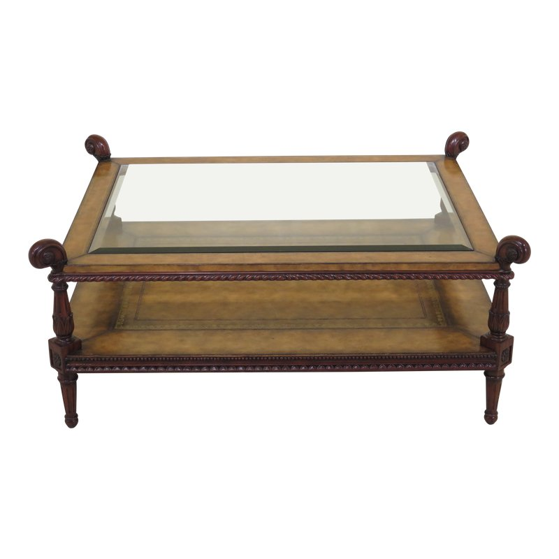 Traditional Maitland Smith Leather Wrapped Mahogany Coffee Table
