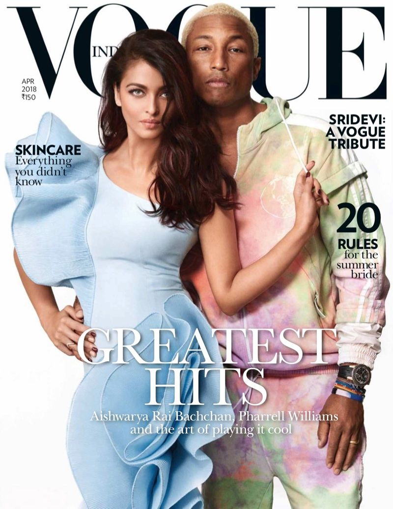 Aishwarya Rai Pharrell Williams Join Forces For Vogue India Cover Story Vogue India Vogue Covers Pharrell Williams