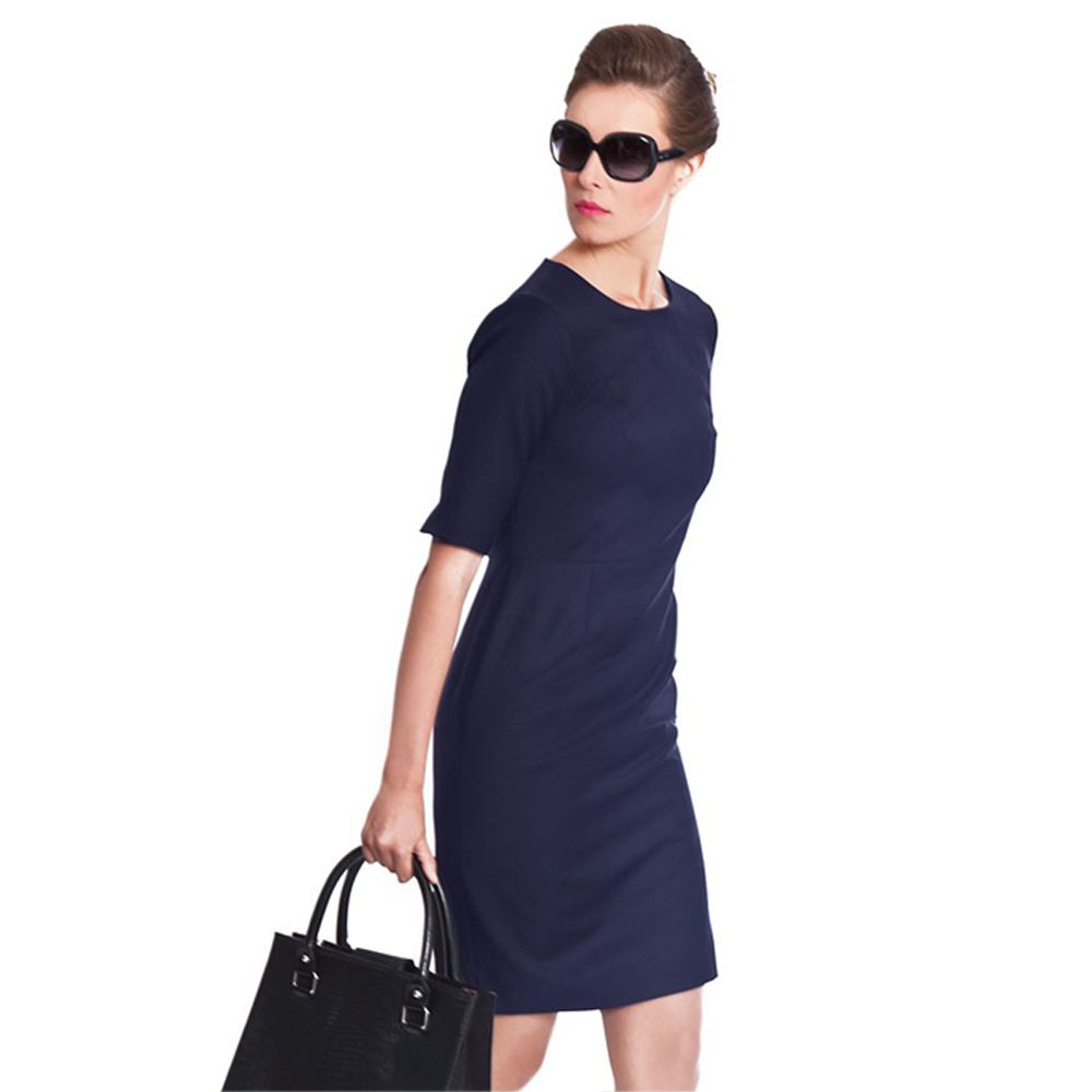 navy blue dresses | Navy Blue Business Dress by NOOSHIN Main - Navy Work  Dress,
