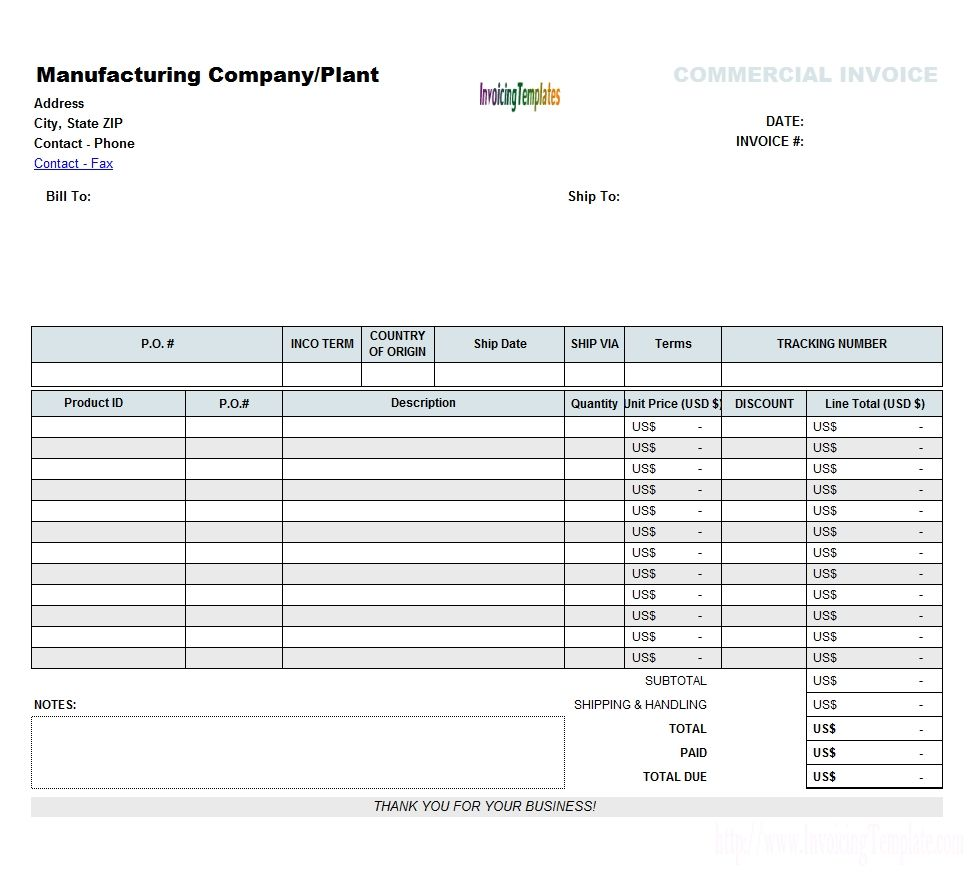 Pdf Commercial Invoice Form No Commercial Value Invoice Invoice - Commercial invoice template word for service business