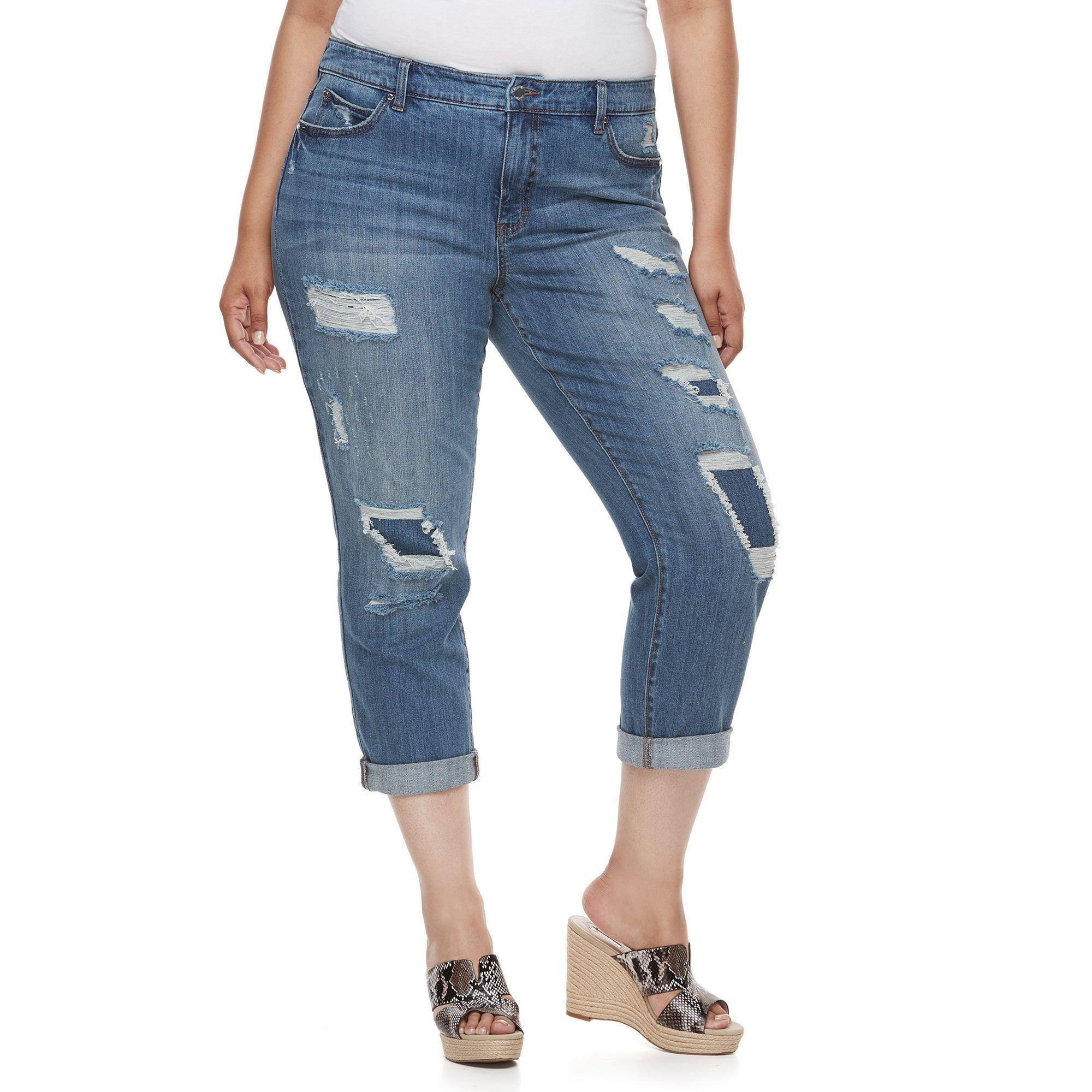 Plus Size Jennifer Lopez Destructed Boyfriend Denim Capris, Women's, Size: 22 W, Dark Blue