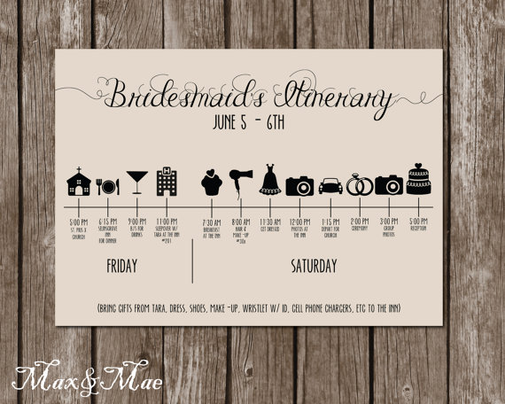 Wedding Itinerary Timeline Big Day Timeline by MaxandMaeInvites - wedding itinerary