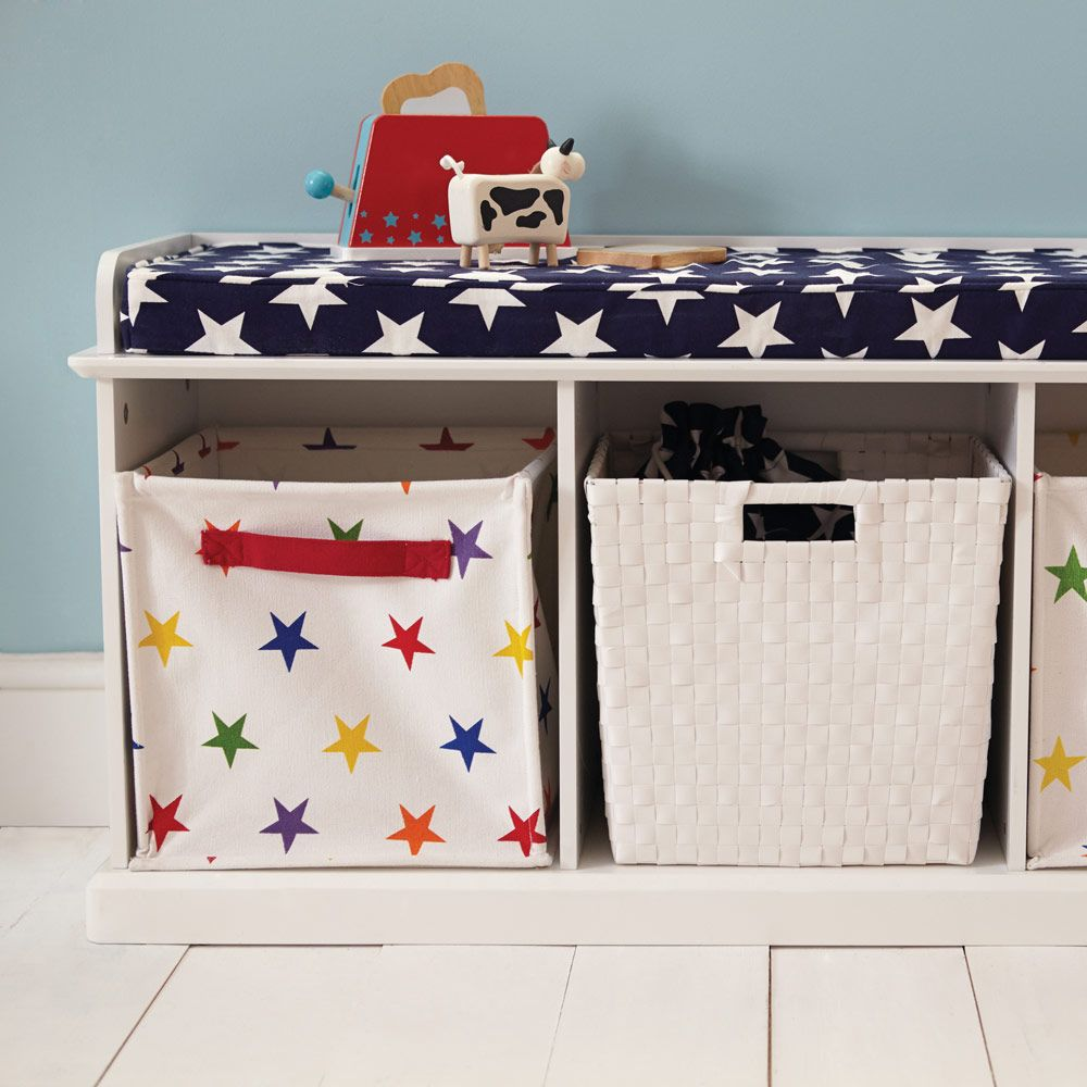 Abbeville Storage Bench   White With Navy Star Cushion   Abbeville Storage    Toy Storage