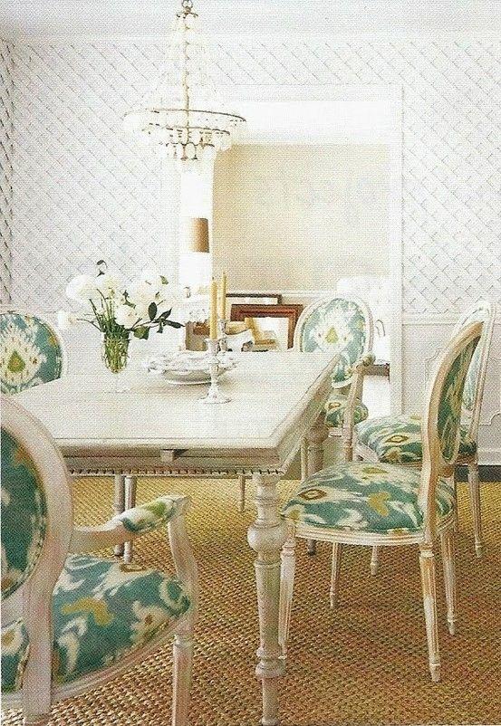 Laura Ashley Kravet Tilbury Lapis Ikat Upholstered Chairs Dining Room Lonny By Jamie 1