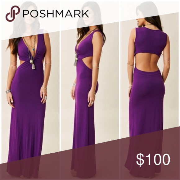 PLANET BLUE LIFE BLU MOON SEXY CUTOUT MAXI DRESS Insanely stretchy, soft, comfy SUPER SEXY maxi from Blue Life, in a gorgeous flattering purple. Fabric is SUPER SOFT and stretchy. Cutout sides and back, knotted plunge front. Small is best on a US 4. Blue Life Dresses Maxi