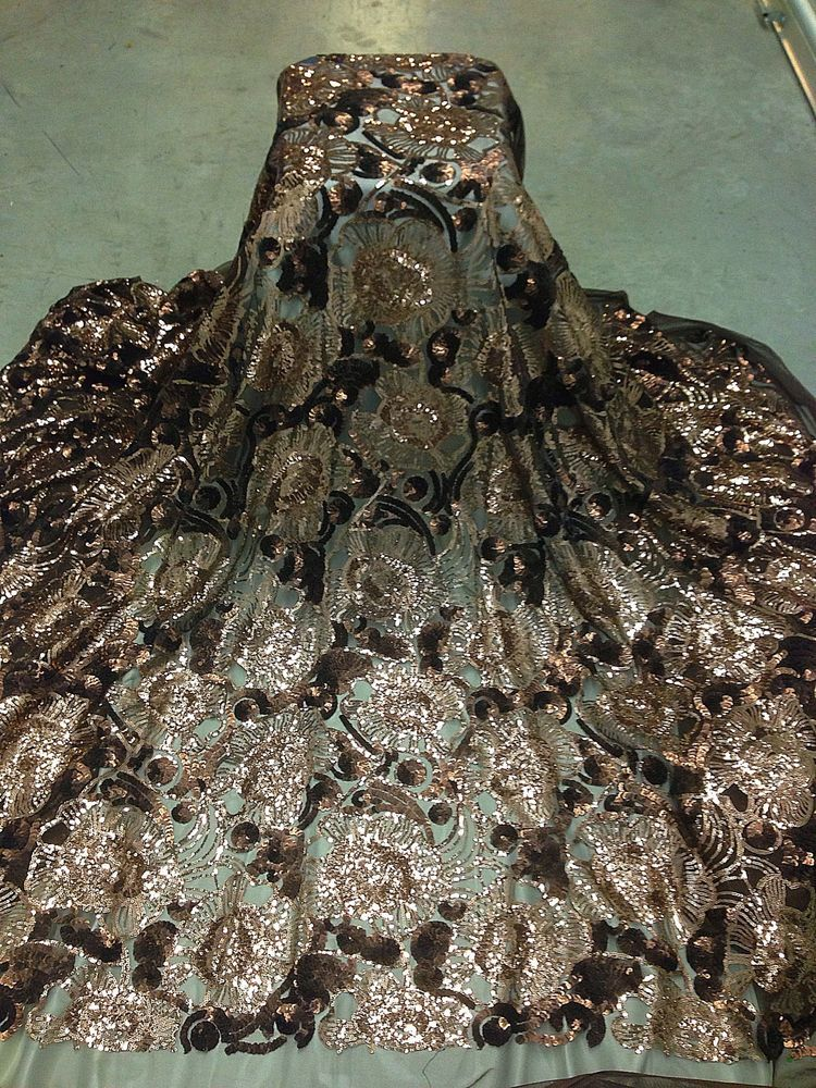 """BROWN STRETCH MESH W/LT BROWN SEQUINS  FABRIC 50"""" WIDE 1 YARD"""