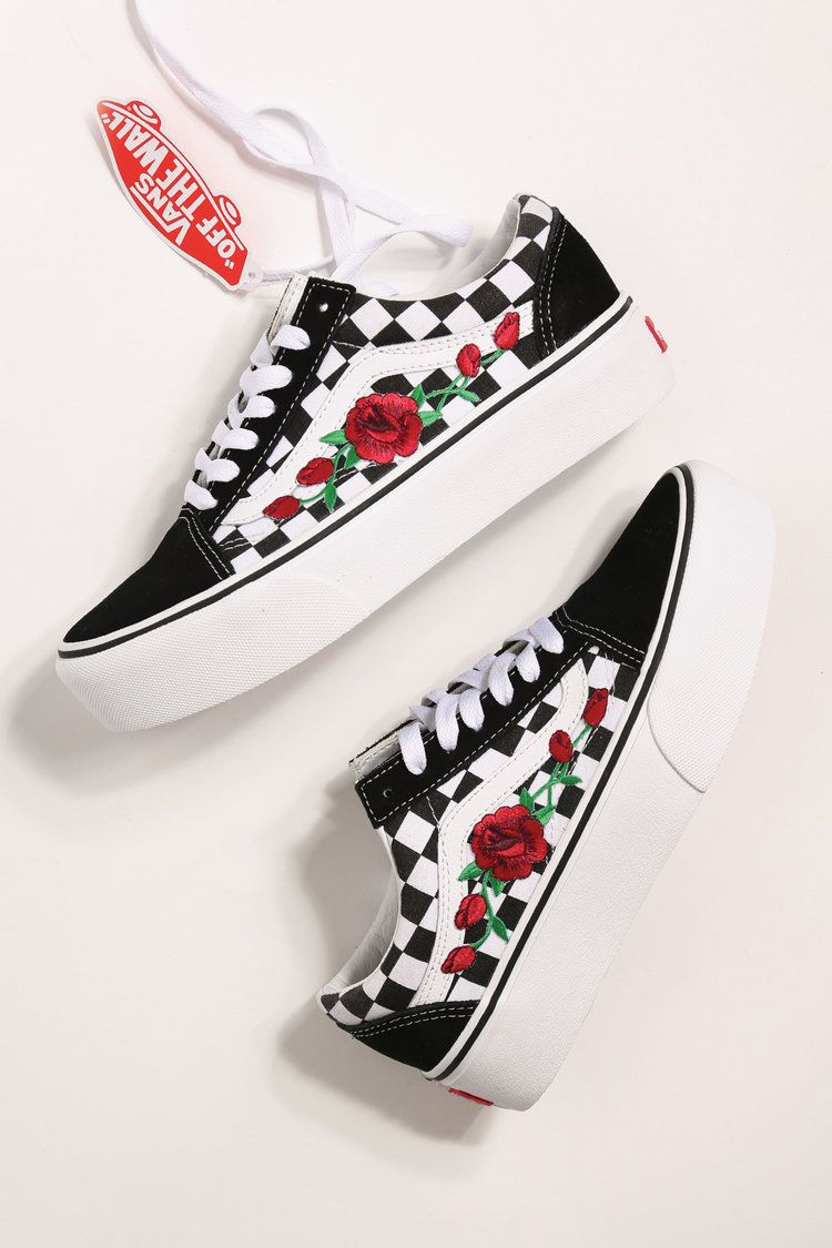 Custom rose vans platform checkered old skool | Custom vans