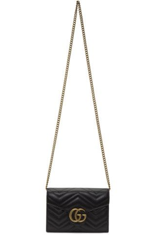 824d2f9cd78bb4 Gucci: Black Mini GG Marmont Bag   SSENSE Canada   Wish List   Gucci ...
