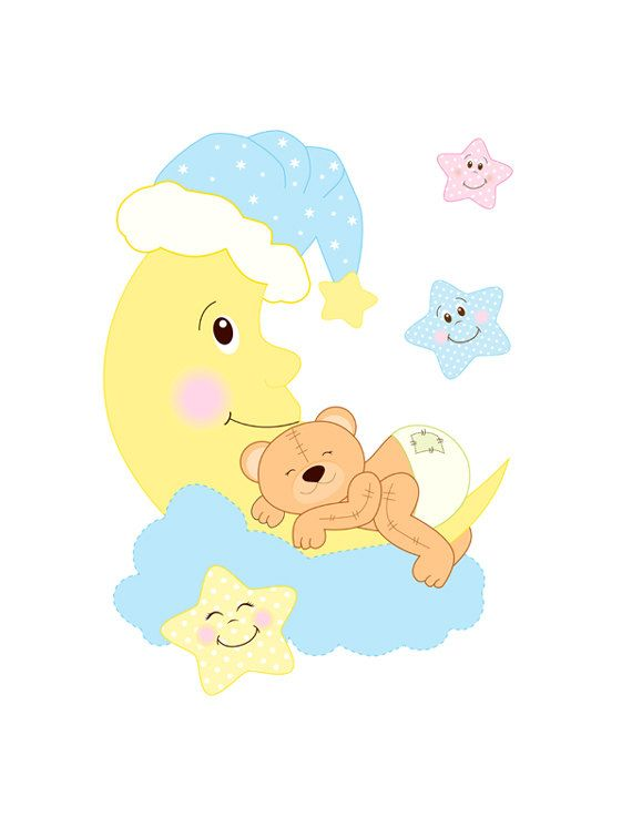 TEDDY BEAR DECAL Nursery Mural Wall Art Baby Moon Star Stickers Room ...