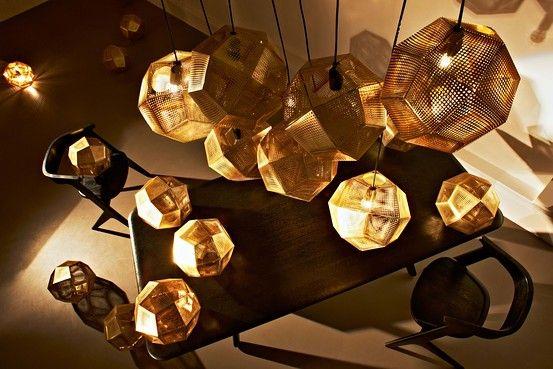 Tom Dixon's 'Etch' lamp shades.