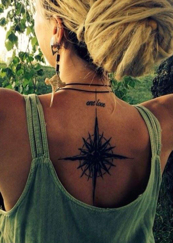 sun star compass back spine tattoo ideas for women at mybodiart