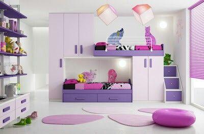 Cuarto de ni a morado cama doble literas ahorra espacio - Habitaciones infantiles dobles ...