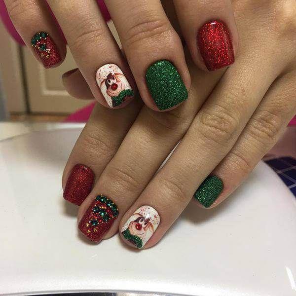 Red and Green rebel flag nail art for short nails - Red And Green Rebel Flag Nail Art For Short Nails Nail Art