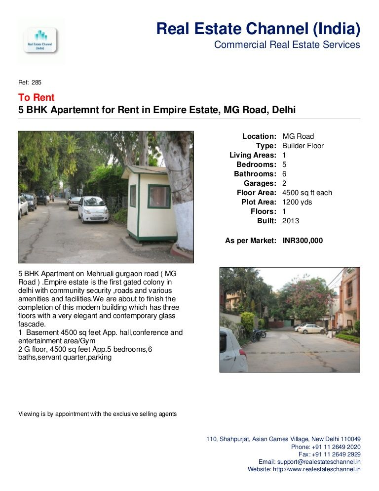 5 Bhk Apartemnt For Rent In Empire Estate Mg Road Delhi By Real Estate Channel India Via Slideshare Real Estate Services Residential Apartments Flat Rent