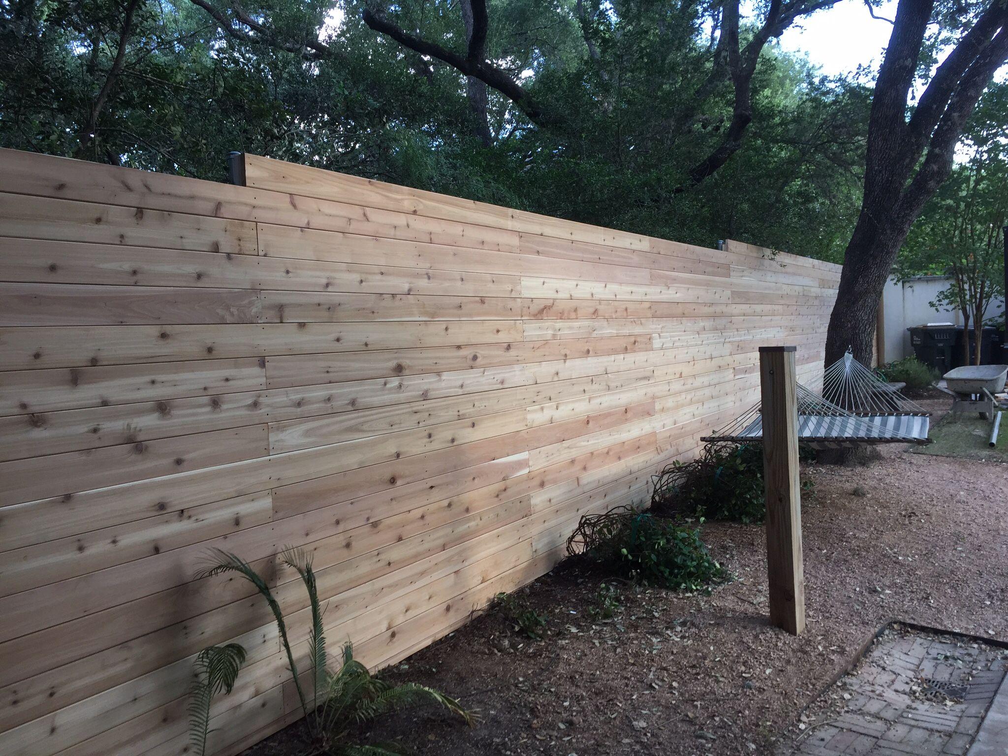 6 H Horizontal Cedar Privacy W 5 4 Boards And Solid Stain Backyard Fences Backyard Cedar Fence Boards