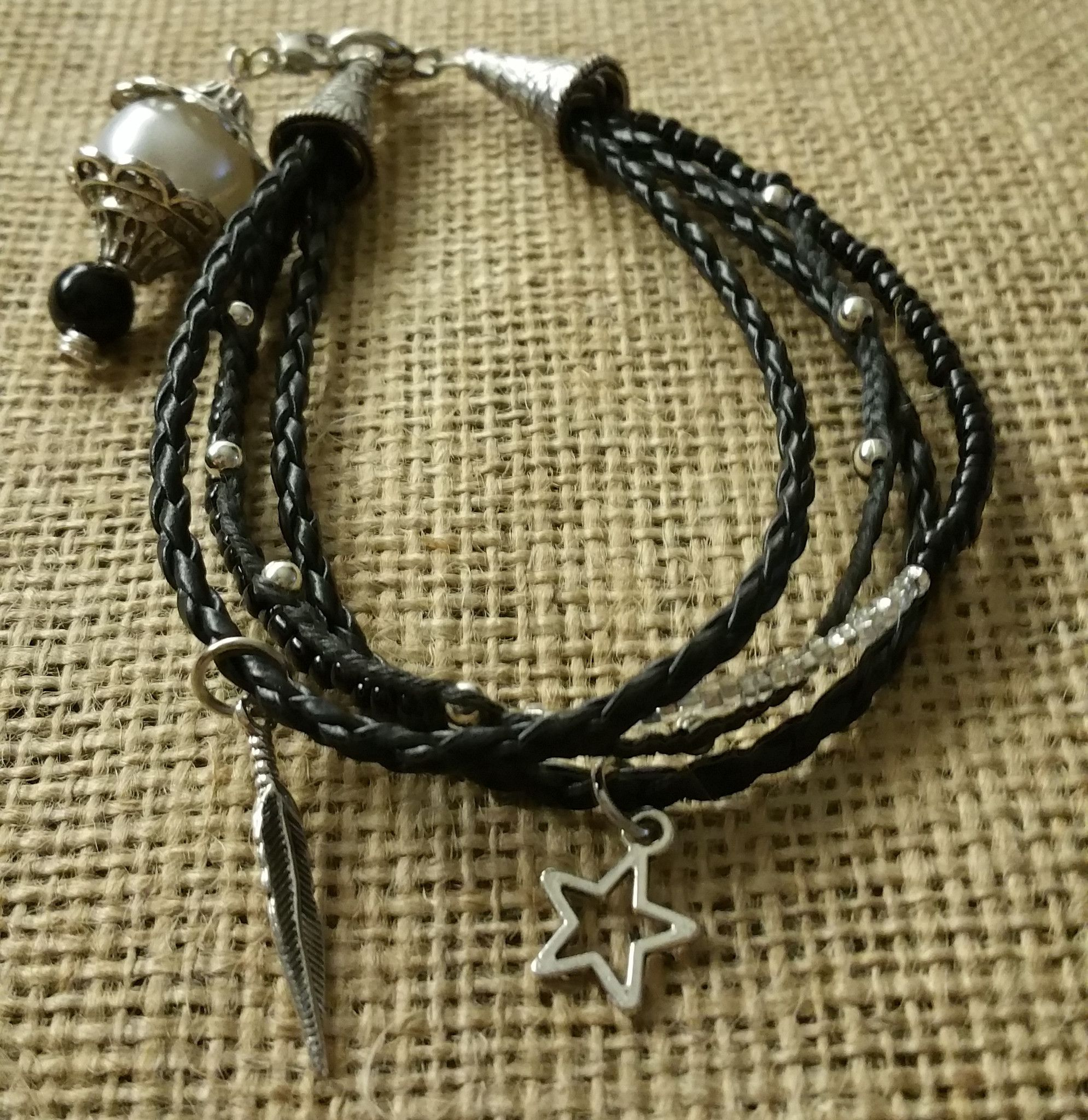 multistrand bracelet braided leather cotton glass with silver charms