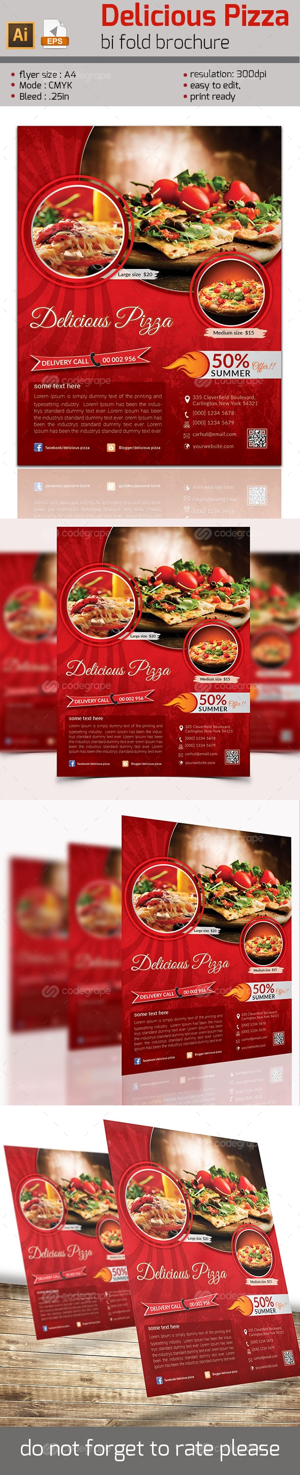 Delicious Pizza Flyer Template | Plantilla de folleto, Folletos y Ranas
