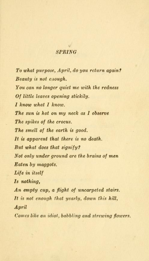 spring by edna st vincent millay quizlet